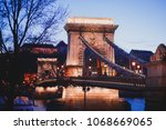 night view of a famous budapest ... | Shutterstock . vector #1068669065