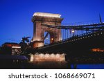 night view of a famous budapest ... | Shutterstock . vector #1068669071