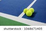 tennis balls on an indoor... | Shutterstock . vector #1068671405