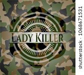 lady killer on camouflage... | Shutterstock .eps vector #1068671531