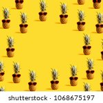 series of pineapples wearing... | Shutterstock . vector #1068675197