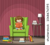 child sits on a chair and reads ... | Shutterstock .eps vector #1068676595