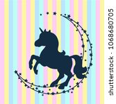vector card with cute unicorn.... | Shutterstock .eps vector #1068680705