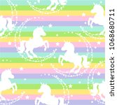 seamless pattern with unicorns  ... | Shutterstock .eps vector #1068680711