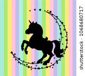 vector card with cute unicorn....   Shutterstock .eps vector #1068680717