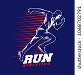athletics running man emblem on ... | Shutterstock .eps vector #1068702791