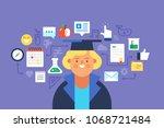 study  online education. flat...   Shutterstock .eps vector #1068721484