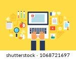 study  tutorial  online...   Shutterstock .eps vector #1068721697