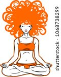 meditation woman. vector... | Shutterstock .eps vector #1068738299