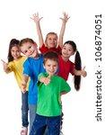 group of happy children with... | Shutterstock . vector #106874051