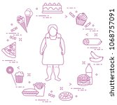 fat girl with unhealthy... | Shutterstock .eps vector #1068757091