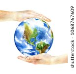 hands holding the earth.... | Shutterstock . vector #1068767609