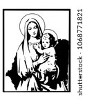 Madonna And Child Jesus Vector...