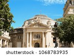 the front facade of bourse de... | Shutterstock . vector #1068783935