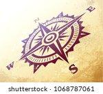 compass wind rose in... | Shutterstock .eps vector #1068787061