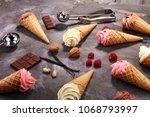 vanilla frozen yogurt or soft... | Shutterstock . vector #1068793997