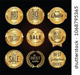 golden labels and badges vector ... | Shutterstock .eps vector #1068795365