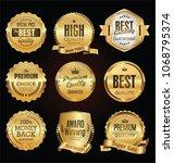 golden labels and badges vector ... | Shutterstock .eps vector #1068795374