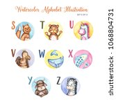 watercolor alphabet cute... | Shutterstock . vector #1068804731