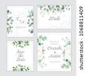 Stock vector wedding eucalyptus rose square vector design banner frames rustic greenery invitation card mint 1068811409