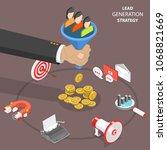 lead generation strategy flat... | Shutterstock . vector #1068821669