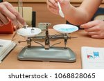 students experimenting and... | Shutterstock . vector #1068828065