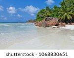 tropical beach. praslin island  ... | Shutterstock . vector #1068830651