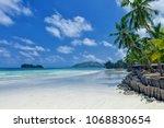 tropical beach. praslin island  ... | Shutterstock . vector #1068830654