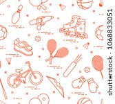 pattern with bicycle  rollers ... | Shutterstock .eps vector #1068833051