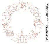 romantic symbols arranged in a...   Shutterstock .eps vector #1068833069