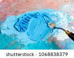 oil surf blue colors with knife ... | Shutterstock . vector #1068838379