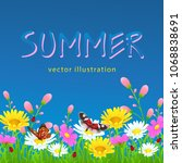 flowers and grass border ...   Shutterstock .eps vector #1068838691