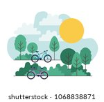 park scene with bicycle | Shutterstock .eps vector #1068838871