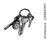 keys bunch on ring hand drawn...   Shutterstock . vector #1068840947