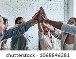 high five for success  diverse... | Shutterstock . vector #1068846281