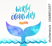 world oceans day vector... | Shutterstock .eps vector #1068851057