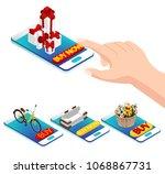 online purchase via smartphone. ... | Shutterstock .eps vector #1068867731