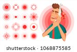 pain icon vector. red rings.... | Shutterstock .eps vector #1068875585