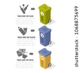 garbage recycling  trash cans ...   Shutterstock .eps vector #1068875699