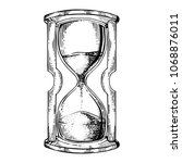 sand watch glass engraving...   Shutterstock .eps vector #1068876011