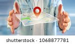 view of a man holding a 3d... | Shutterstock . vector #1068877781