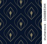 golden peacock feather pattern. ... | Shutterstock . vector #1068885344