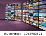 video wall as television... | Shutterstock . vector #1068903521