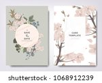 botanical wedding invitation... | Shutterstock .eps vector #1068912239