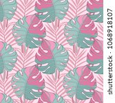 seamless pattern with tropical... | Shutterstock .eps vector #1068918107