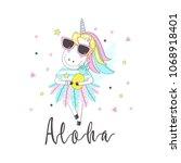 ute unicorn with inscription  ... | Shutterstock .eps vector #1068918401