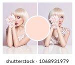 art advertising collage mockup... | Shutterstock . vector #1068931979