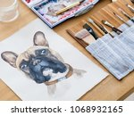 art therapy. painting classes... | Shutterstock . vector #1068932165