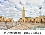 tower mosque hassan ii in... | Shutterstock . vector #1068943691