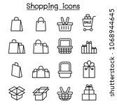 shopping icon set in thin line... | Shutterstock .eps vector #1068944645